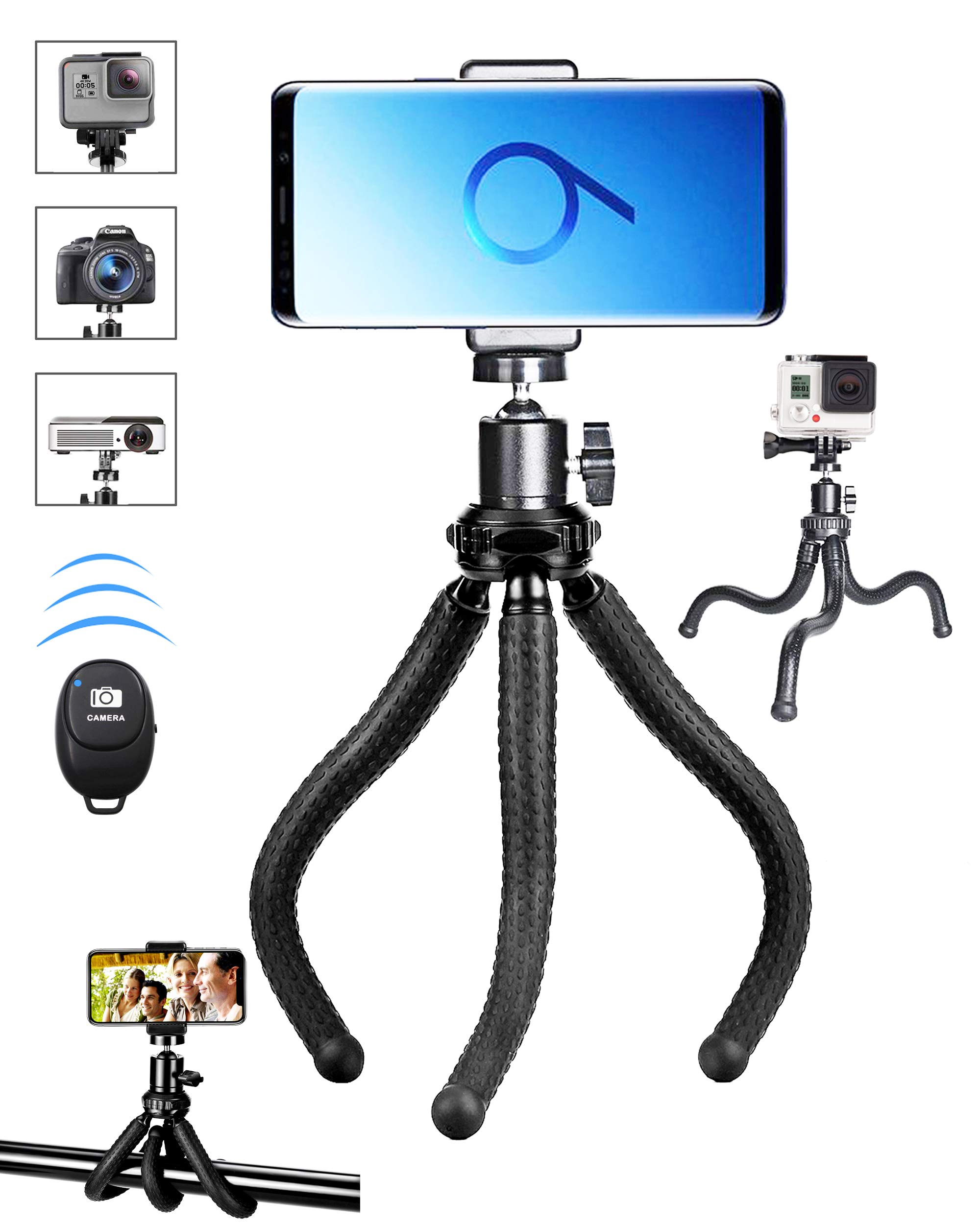 Phone Tripod,Premium Flexible Phone Tripod and Phone Stand with Wireless Remote Shutter,Compatible with iPhone Xs Max Xr 8 7 6 6s Plus, Android, Samsung Galaxy S10 S9,Gopro and More by BZE