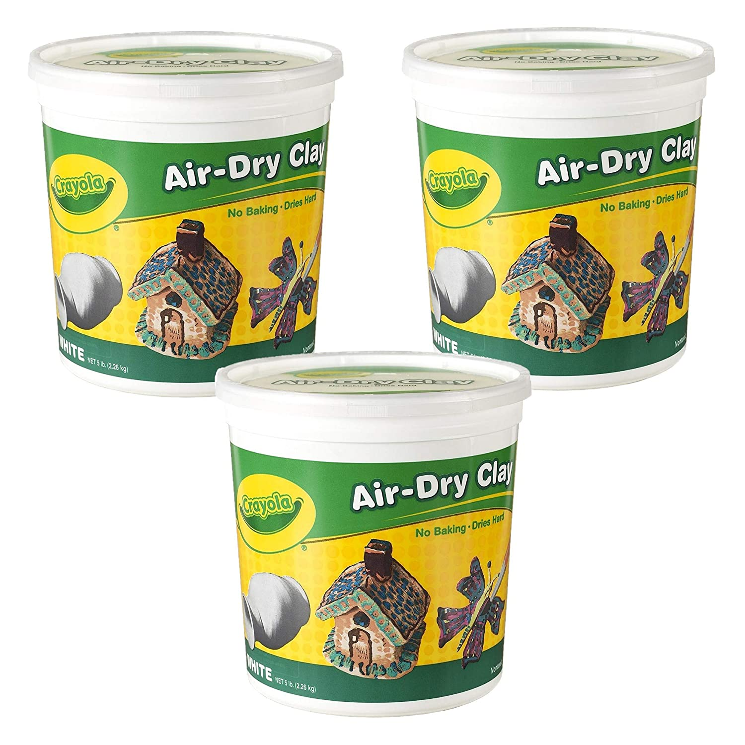 Educational Art Tools Crayola Air-Dry Clay 5 pounds Resealable Bucket White For Classroom 3 Pack 15 pounds Total
