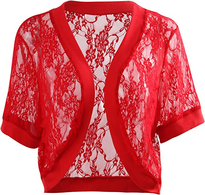 CLOUSPO Shrugs for Women Bolero Shrugs for Women Summer Short Sleeve Floral Lace Open Front Ladies Shrug Cardigan