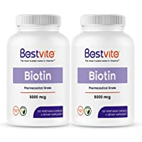 Biotin 5000mcg (240 Vegetarian Capsules) (120 x 2) - No Stearates - No Flow Agents...