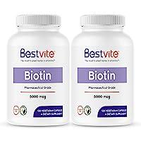 Biotin 5000mcg (240 Vegetarian Capsules) (120 x 2) - No Stearates - No Flow Agents - Vegan - Non GMO - Gluten Free - Hair, Skin, Nails