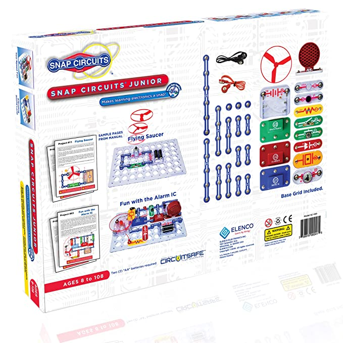 amazon com snap circuits jr sc 100 electronics exploration kitamazon com snap circuits jr sc 100 electronics exploration kit over 100 stem projects 4 color project manual 30 snap modules unlimited fun