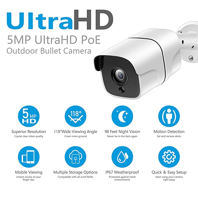 Mobile View 5MP HD IP PoE Camera Outdoor H.265//H.264 150ft Night Vision IP67 Waterproof FULUVA 5 Megapixels 2592x1944P Ethernet Security Camera Onvif Motion Alert More Stable Than Wireless