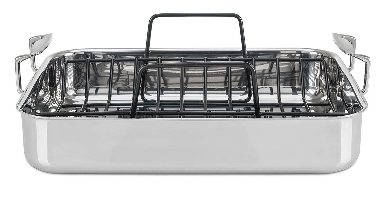 Viking 3-Ply Stainless Steel Roasting Pan with Nonstick Rack, 16 Inch by 13 Inch 4013-5016