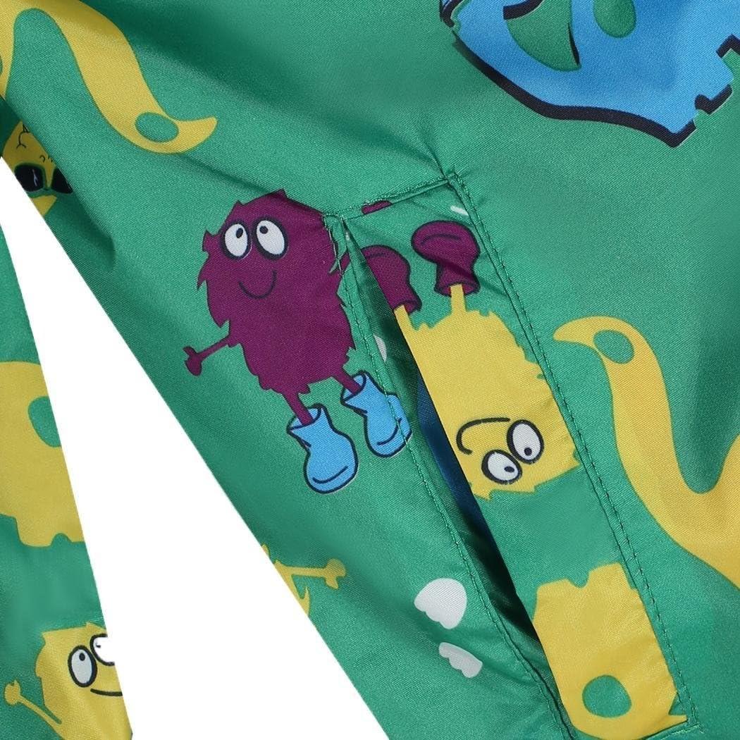 Fashine Childrens Carton Animal Hooded Raincoat with Pockets Green//120