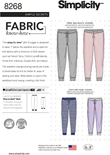 product image for Simplicity US8268A Easy to Sew Unisex Jogger Pants Sewing Patterns, Sizes XS-XL