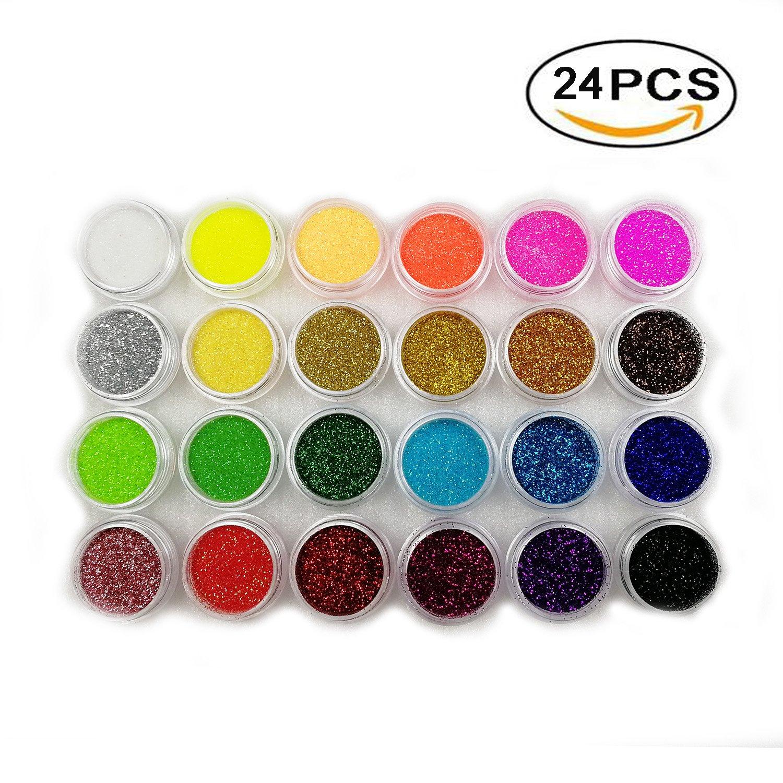 Boocy 24 Box Colors Glitter Dust Nail Art Acrylic Glitter Flash powder Nail Art Decoration
