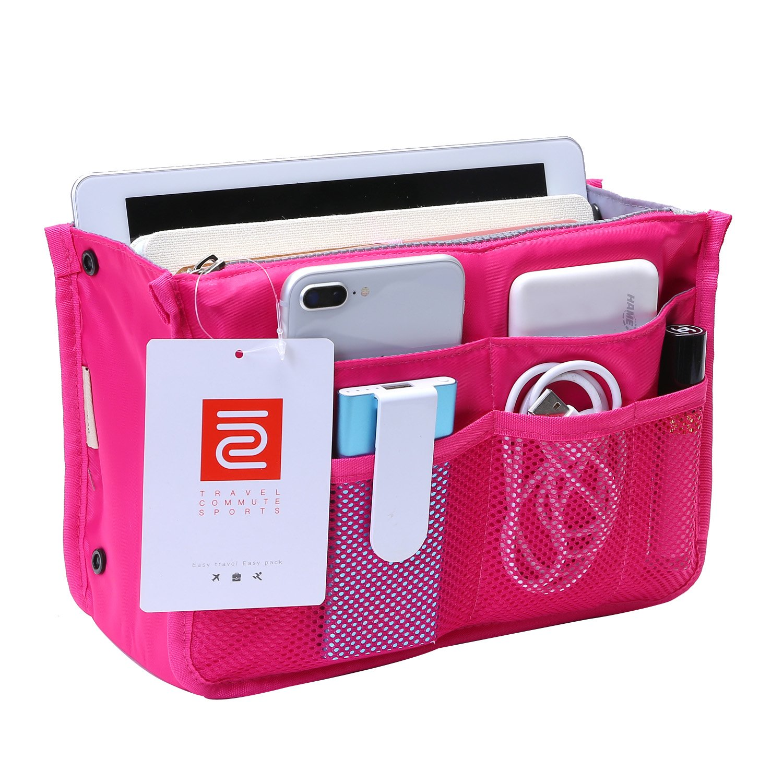 IN Multi-Pocket Travel Handbag Organizer Insert for Tote Bag Purse Liner Nylon (Large, Red)