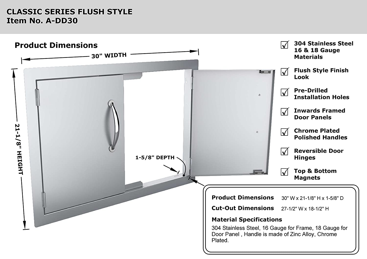 Sunstone A Dd30 30 Inch Double Door Flush Mount Sink Plumbing Diagram Group Picture Image By Tag Outdoor Kitchen Access Doors Garden