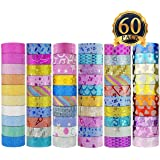ONEST 60 Rolls New Designs Glitter Washi Masking Tape Set, Great Gift for DIY Scrapbook Photo Album Decorations Tape Adhesive School Supplies