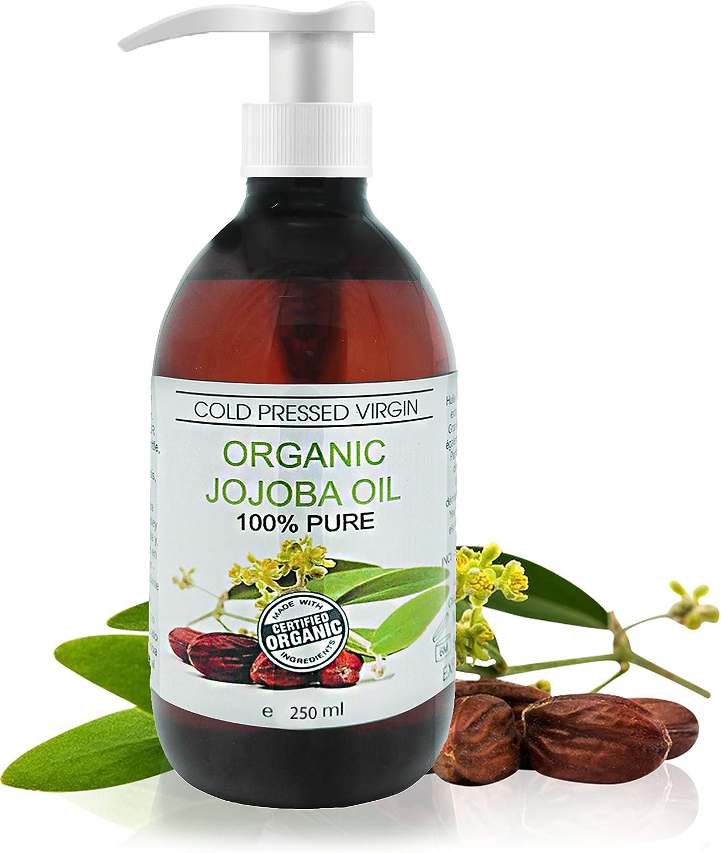 Aceite Ecológico Virgen de Jojoba 250 ml Prensado en Frío 100% Puro
