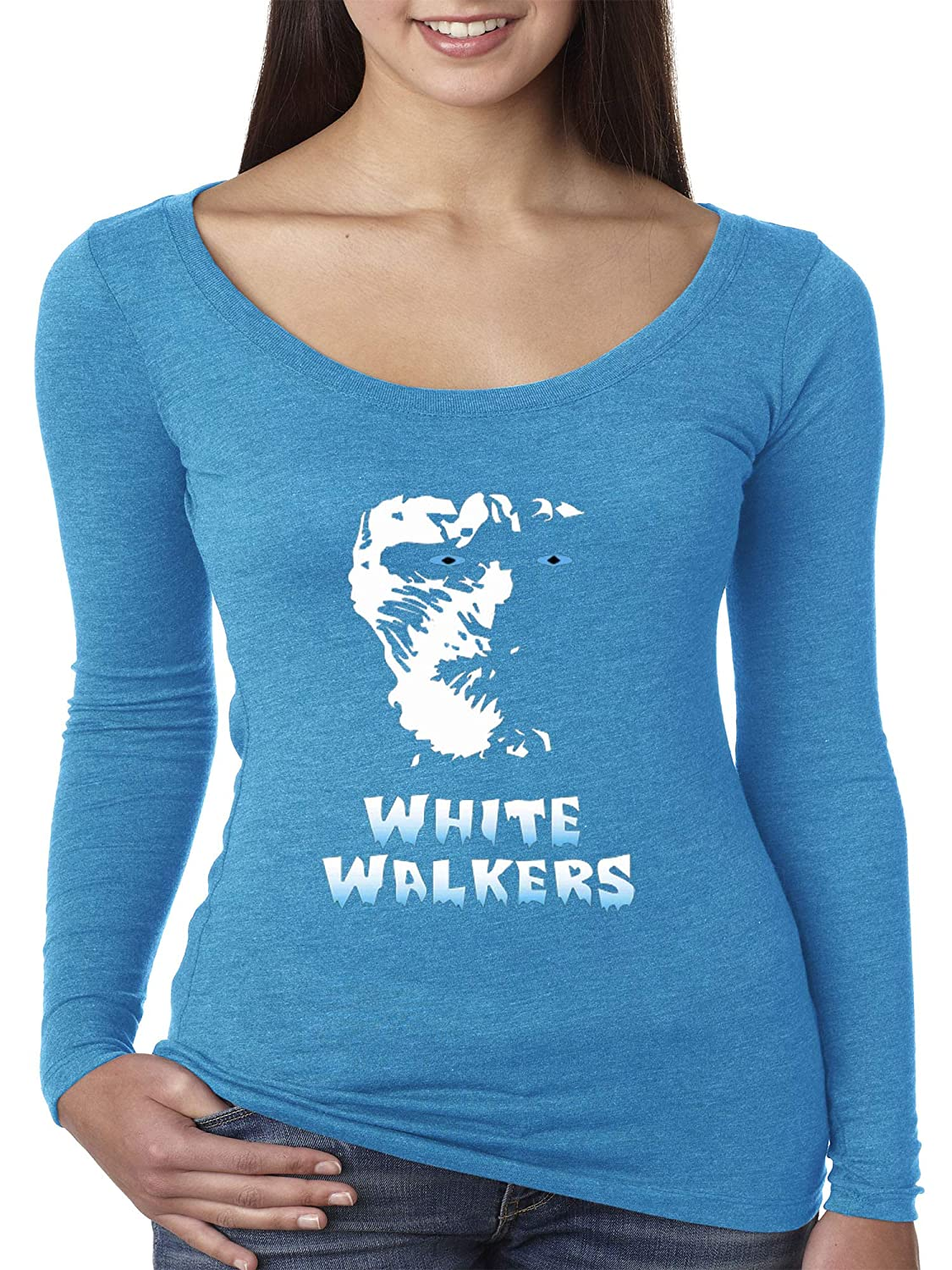 Turquoise Trendy USA 493  Women's Long Sleeve TShirt White Walkers Game of Thrones