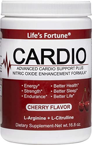 Life s Fortune Cardio L-Arginine Advanced Cardio Support Plus Nitric Oxide Enhancement Formula – Dietary Supplement, Cherry Flavor, 16.8 Oz