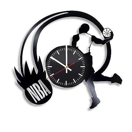 Reloj de Pared de Vinilo NBA, Jugador de Baloncesto, Hecho a Mano ...