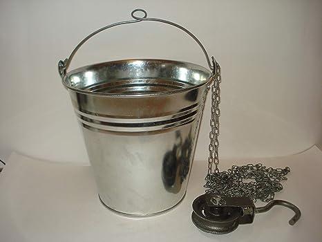 Secchio zincato per pozzo con anello nel manico carrucola in