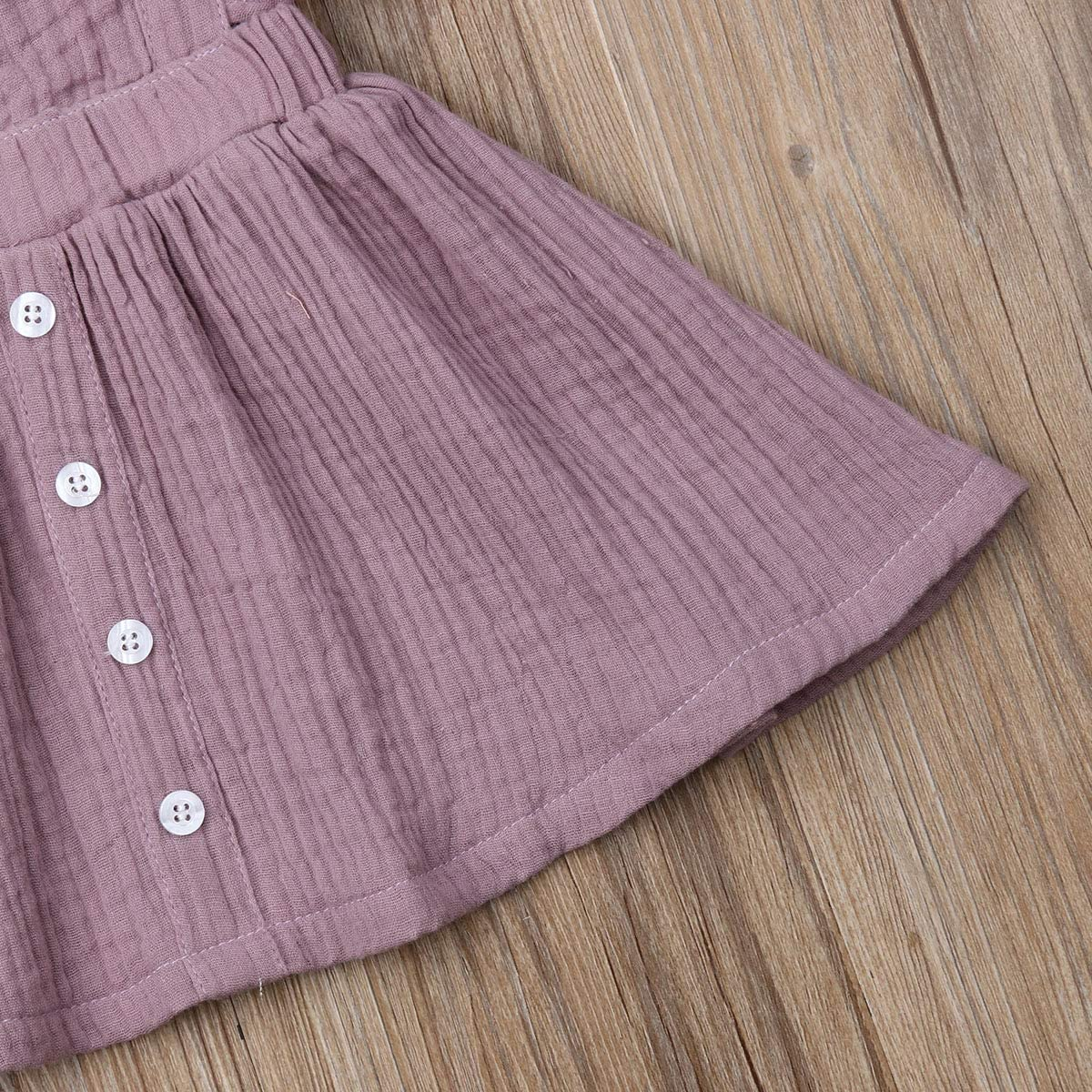 LuLuBaby Toddler Baby Girls Dresses Summer Cotton Ruffle Sleeveless Button Sundress Clothes