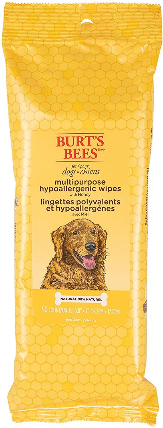 Burt's Bees For Dogs Multipurpose Grooming Wipes | Puppy and Dog Wipes For Cleaning, 50 Count, FF7488