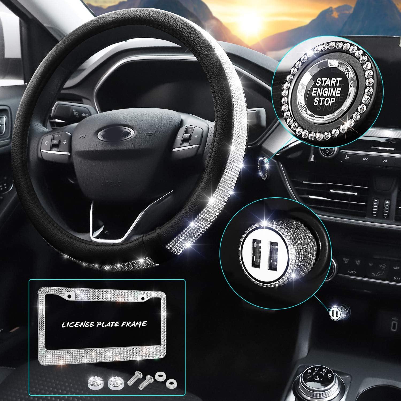 HAOKAY Bling Car Accessories Set for Women and Girls, Universal Diamond Steering Wheel Cover, Bling License Plate Frame, Bling Car USB Charge, Car Bling Ring Emblem,Bling Car Decor Set