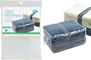 """Home Expressions Clear PEVA Set of 2 Medium Storage Bags(16""""x12""""x8"""")"""