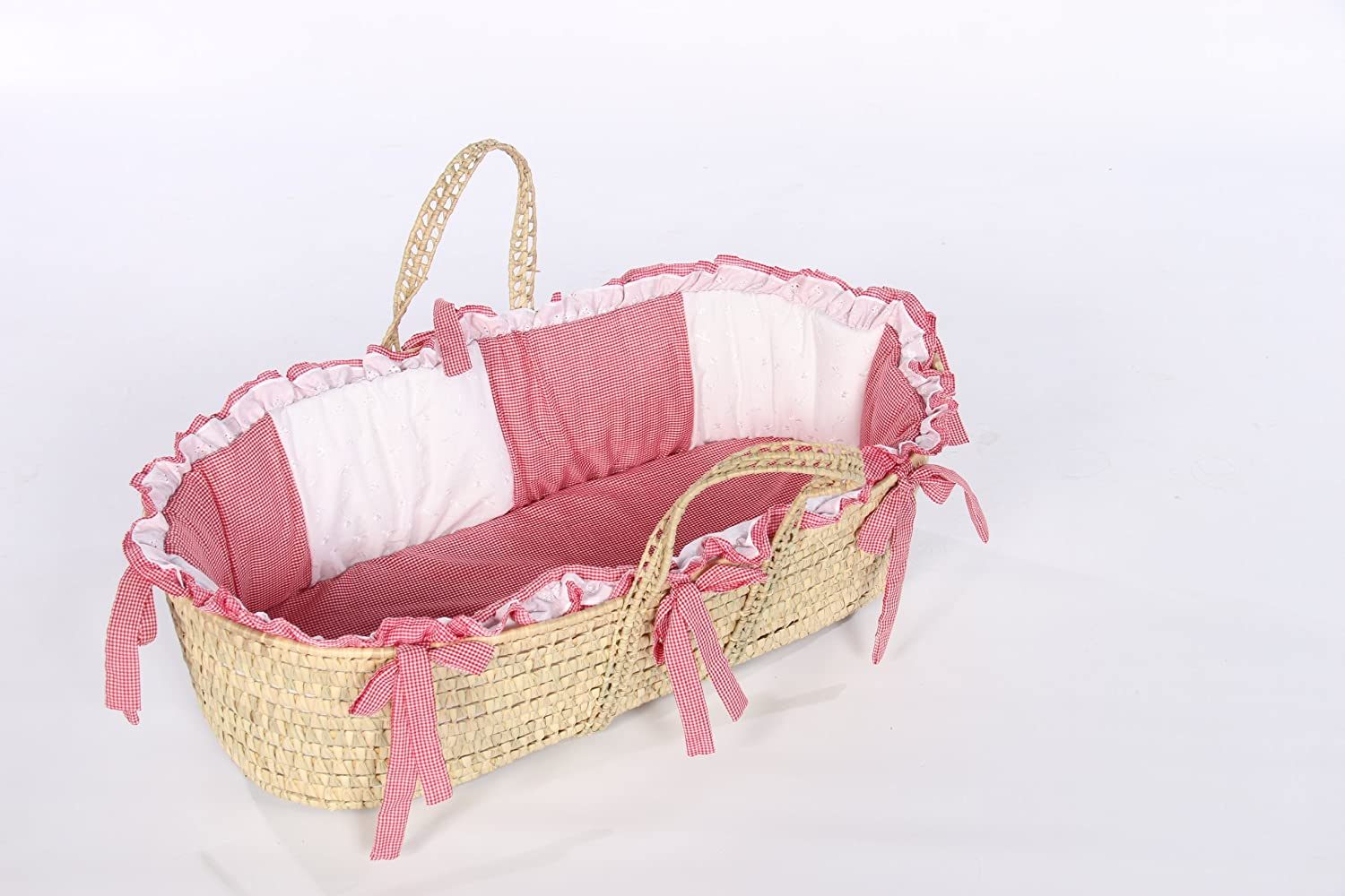 BabyDoll Gingham Eyelet Moses Basket Set in Blue Baby Doll Bedding 1017mb