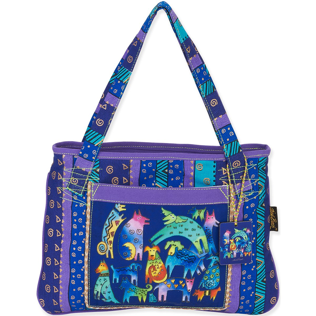 Laurel Burch Medium Tote, 15 by 11-Inch, Mythical Dogs LB5391