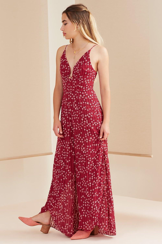 findersKEEPERS Womens Twilight Sleeveless V Neck Wide Leg Jumpsuit