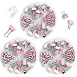 Teskyer Small Binder Clips and Paper Clips Push Pins Tacks Set, Total 216 Pcs Office Clips Kits with Separately Stored Box fo