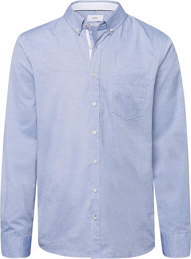 BRAX Dries Broken Oxford Camisa, Azul (Bleu 27), Small para Hombre: Amazon.es: Ropa y accesorios