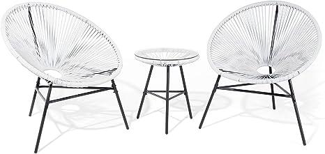 Lustiges Balkonset 2 Stühle mit 1 Tisch Spaghetti-Optik Rattan weiß Acapulco