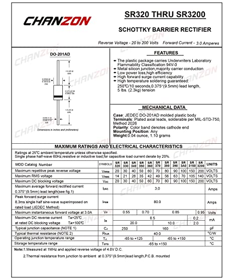 Schottky Barrier Rectifier Diodes 3A 100V DO-201AD DO-27 SB3100 Pack of 20 Pieces Axial 3 Amp 100 Volt Chanzon SR3100