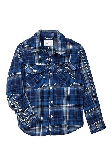 edfa3b0ed Amazon.com: Joe's Jeans Plaid Twill Weave Shirt (Little Boys) Navy ...