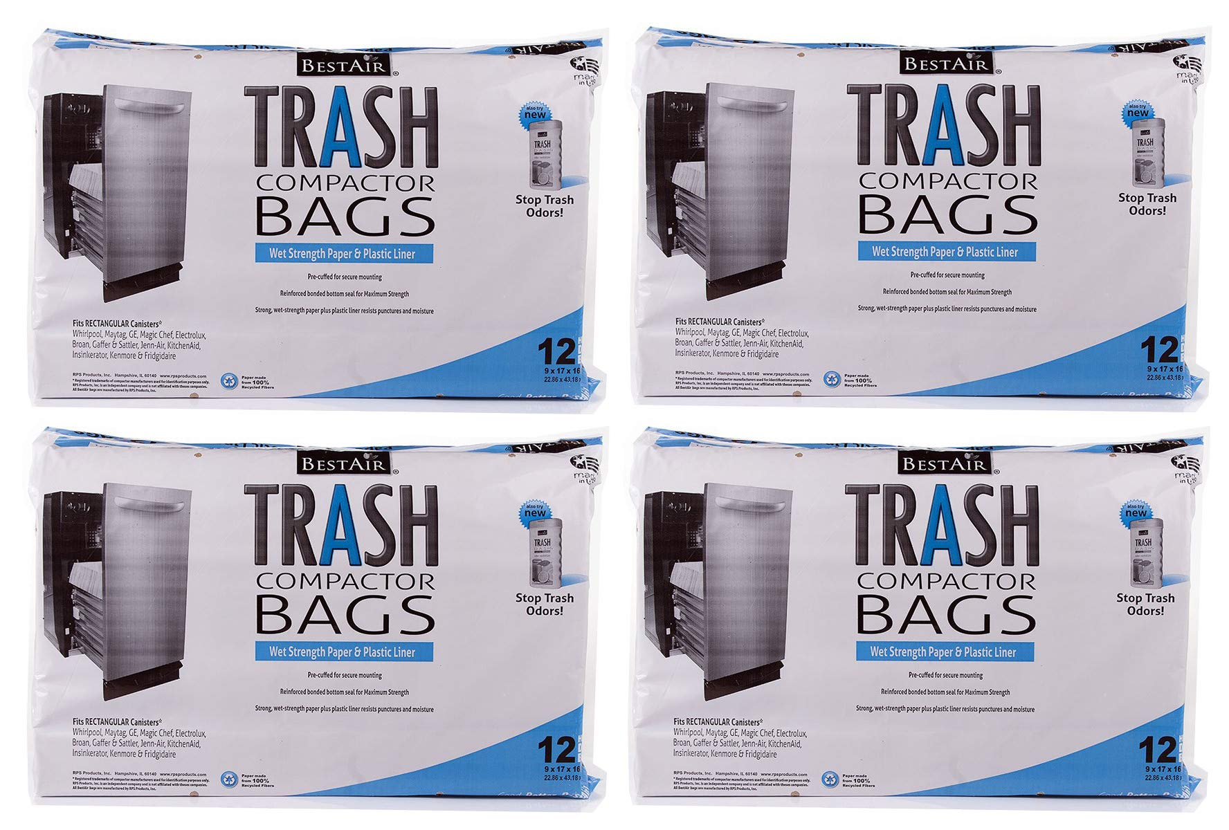 RPS PRODUCTS MFYHEGVG BestAir Trash Compactor Bags(16'' D. x 9'' W. x 17'' H), 4 Pack of 12