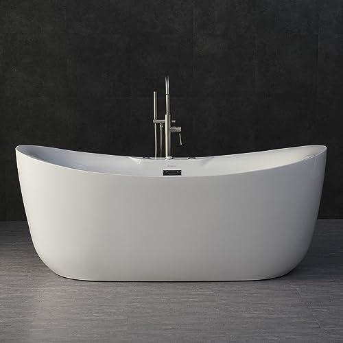 WOODBRIDGE B-0034 BTS1611 71 x 31.5 Water Jetted and Air Bubble Freestanding Bathtub, BTS1611, B-0034 Whirlpool Tub