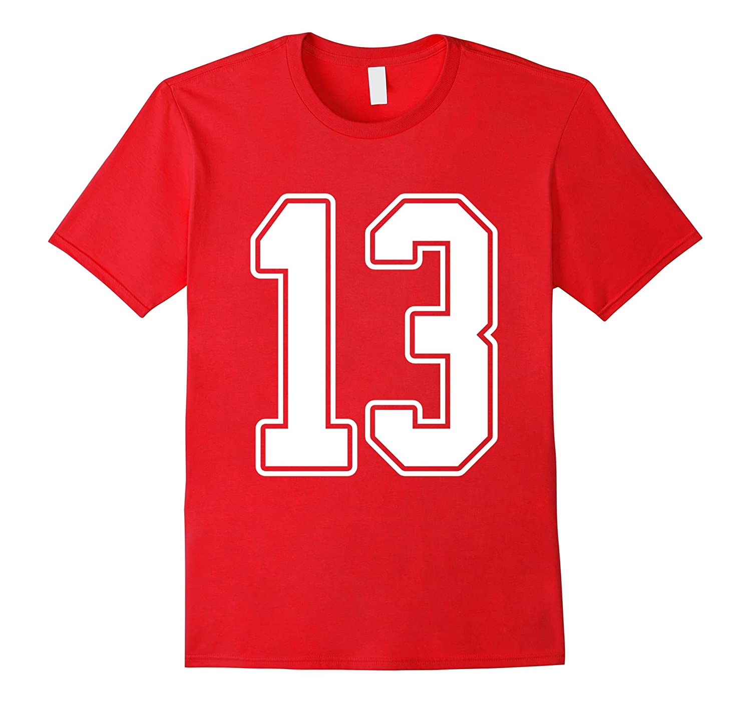 #13 White Outline Number 13 Sports Fan Jersey Style T-Shirt-T-Shirt