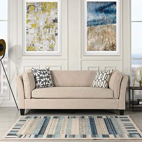 Amazon.com: Casa Andrea Milano Sofá de tela de lino moderno ...