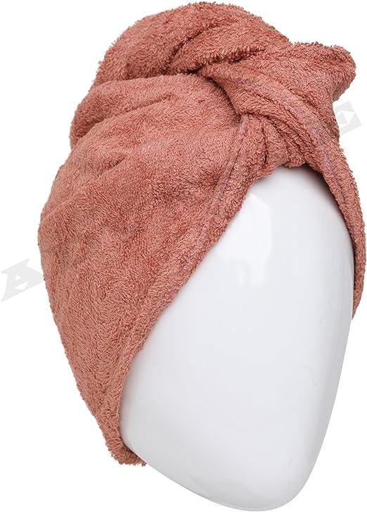 Toalla de pelo estilo turbante de 100 % algodón, marrón, Estándar ...