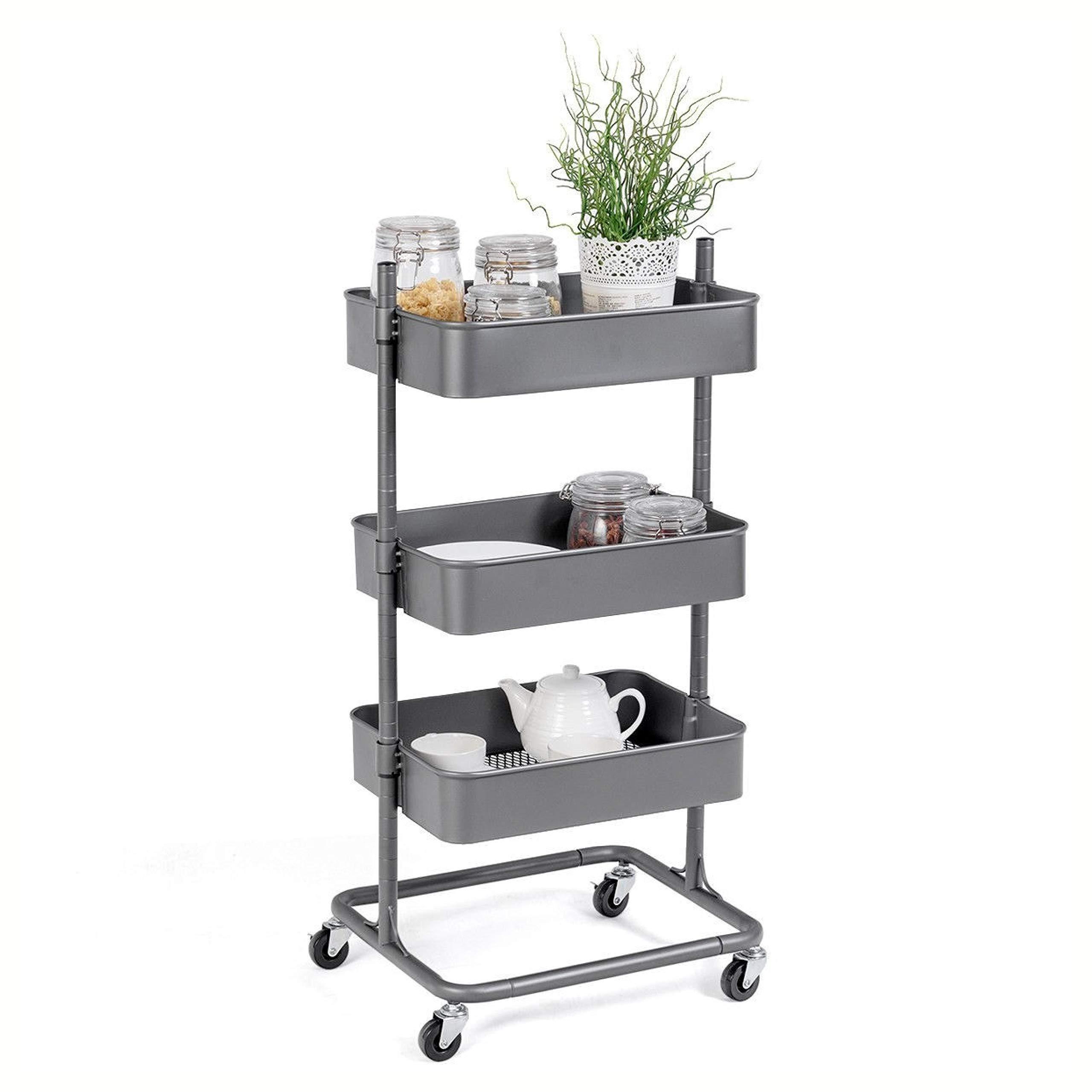 Kitchen & Dining Cart, 3 Tier Metal Rolling Utility Storage Cart