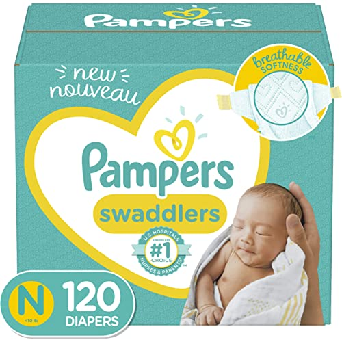 Baby Diapers Newborn - Size 0 (< 10 lb), 120 Count - Pampers Swaddlers, Giant Pack (Packaging May Vary)