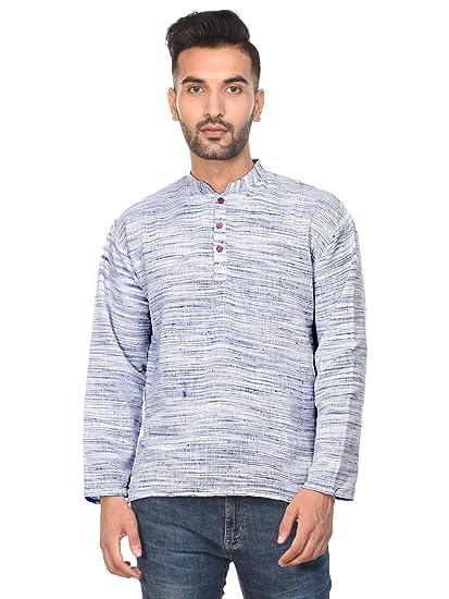 08c82f1d5 SKAVIJ Mens Casual Kurta T- Shirt Long Sleeve Button Down Dress Relax Fit  Cotton Tunic