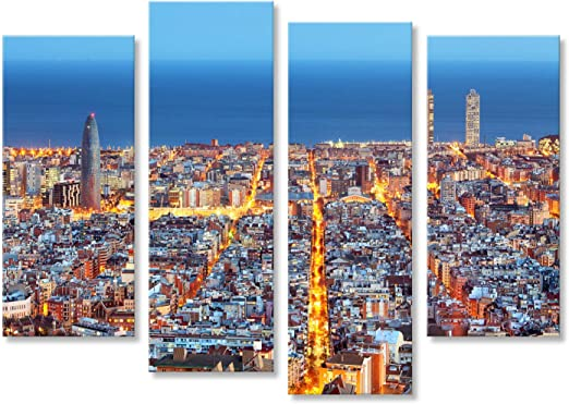 islandburner Cuadro Cuadros Horizonte de Barcelona, Vista aérea ...