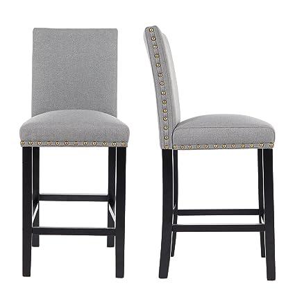 Amazoncom Gotminsi Nailhead 24 Counter Height Stools Upholstered