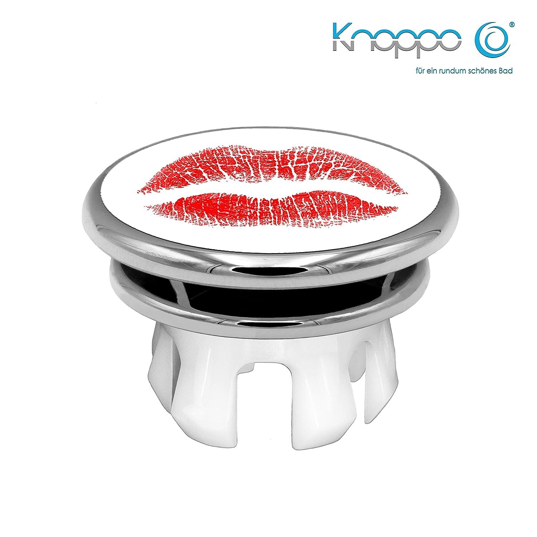 KNOPPO® Waschbecken Überlauf Abdeckung, Überlaufblende, Überlaufrosette - Mirror Kiss Motiv (chrom)
