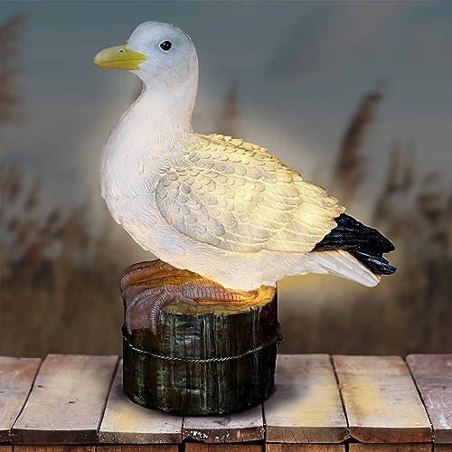 Exhart Solar Seagull on a Pier Resin Garden Statue