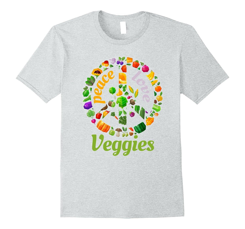 """Peace Love Veggies"" Retro Vegetable Lover Cool Gift T-Shirt"