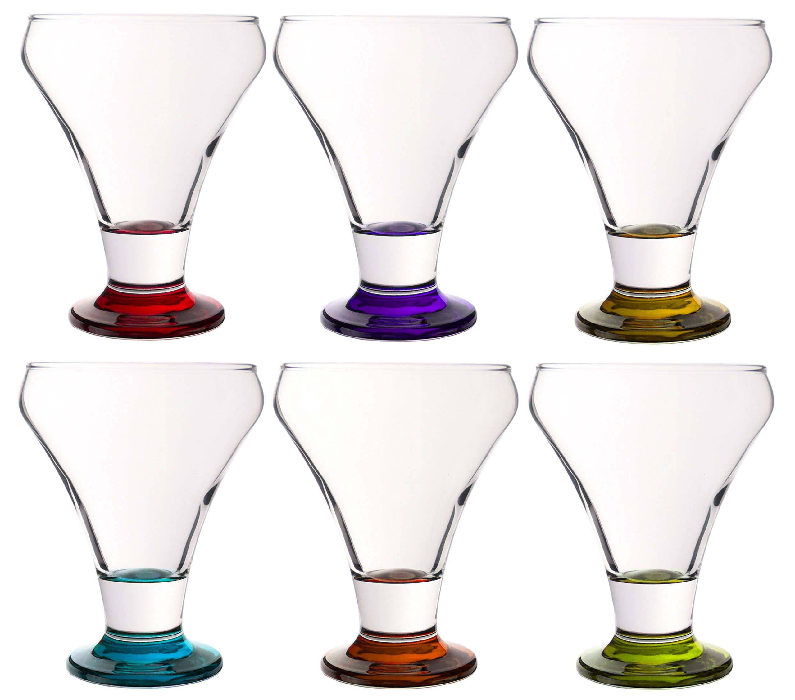 Colored Serverware 6-Piece Mini Martini Footed Dessert Glass Set, 10.25 Ounce