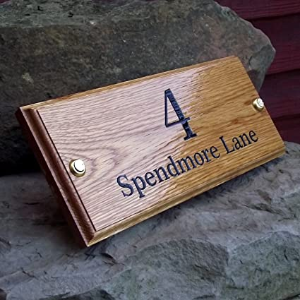 Oak House Number Name Plaque Sign In Thick Oak Custom House Number Street Name Or House Name Plate 300x120x20 Supplied With Brass Screws