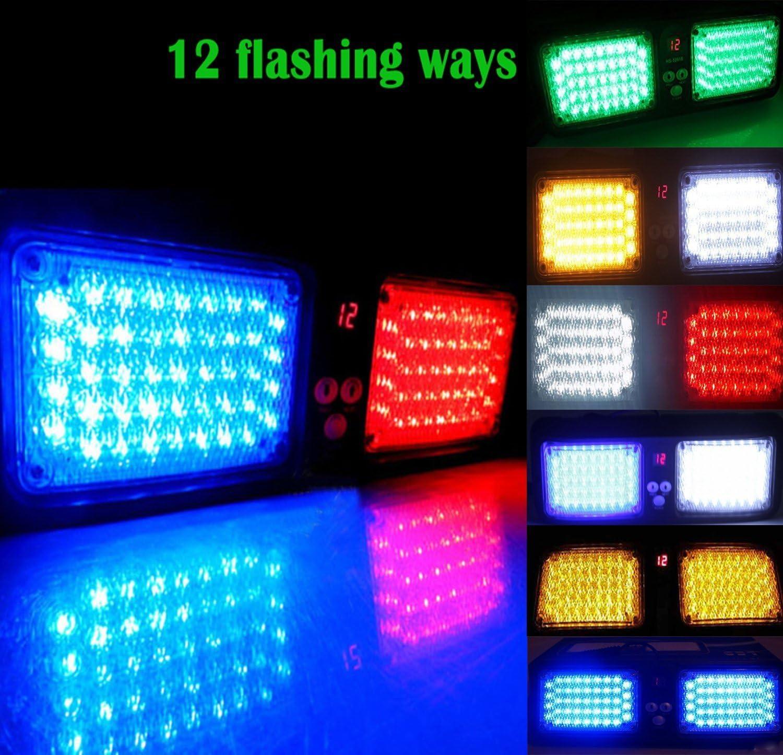 Lanxi 12/V 86/luci a LED di alta qualit/à auto parasole luci stroboscopiche rosso e blu luce stroboscopica 12/tipi di metodo flash LED di emergenza luci stroboscopiche di pericolo