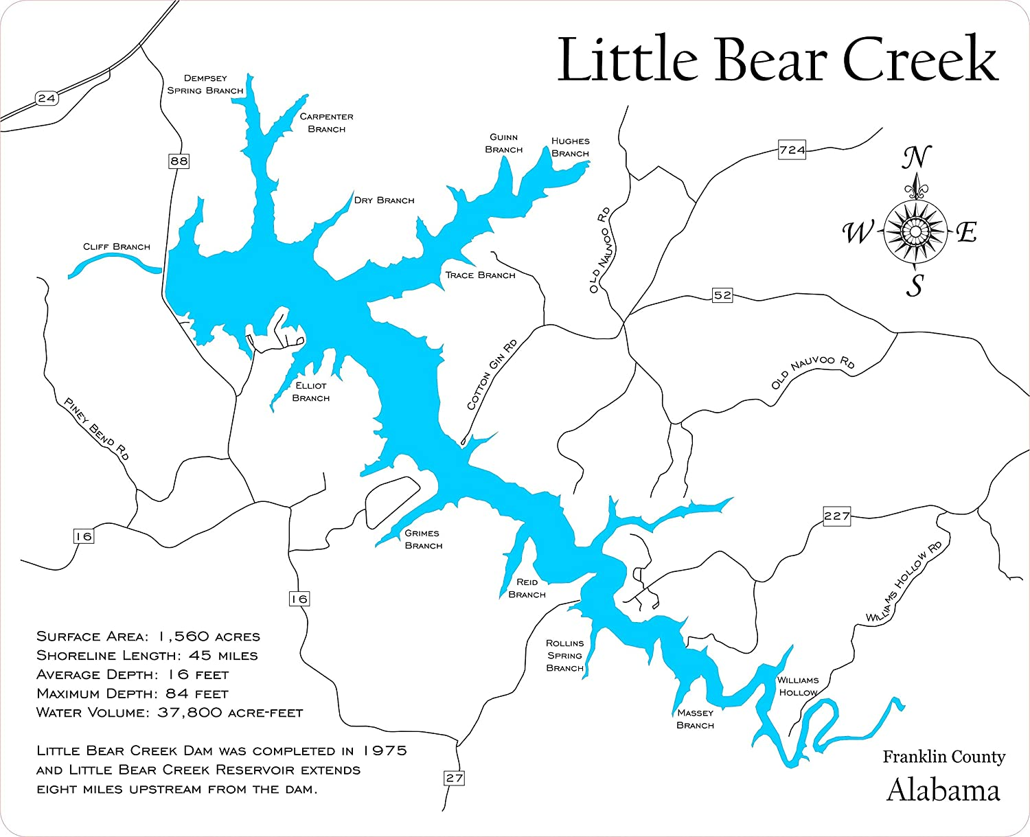 Bear Creek Alabama >> Amazon Com Little Bear Creek Reservoir Alabama Framed