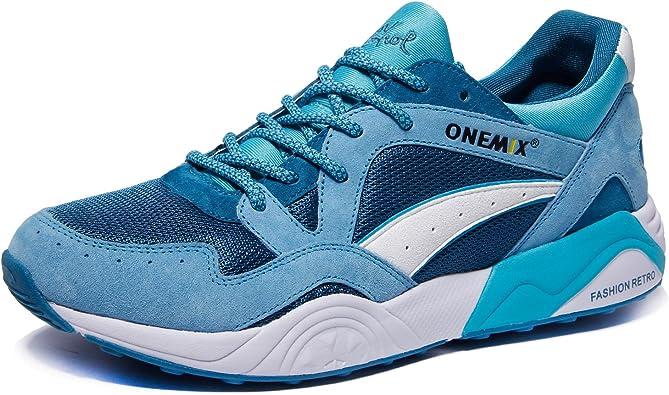 ONEMIX Zapatillas de Running para Hombre, Respirable Zapatos Casual Estilo Retro, Informal, para Correr Exteriores 1122 Lakeblue/White 40: Amazon.es: Zapatos y complementos