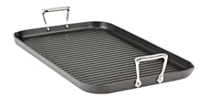 All-Clad E7954164 HA1 Hard Anodized Nonstick Dishwasher Safe PFOA Free Grande Grill Cookware, 13-Inch by 20-Inch, Black